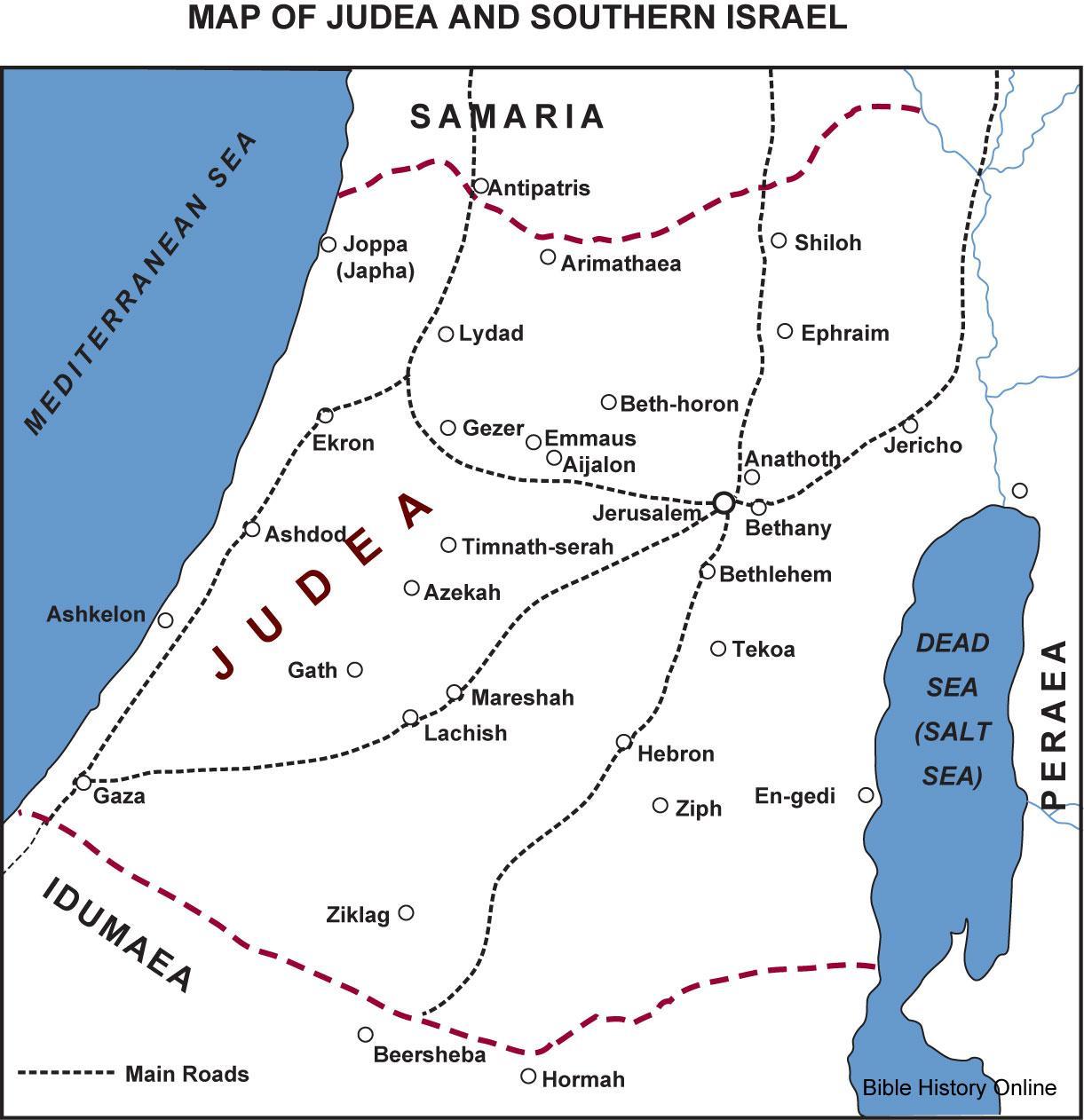 Judea map Map of Judea Israel