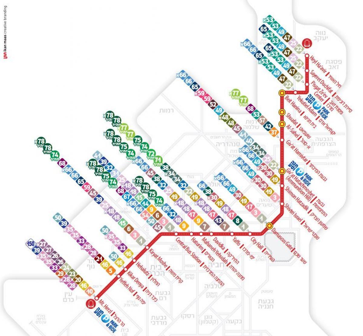 Jerusalem light rail map - Light rail Jerusalem map (Israel)